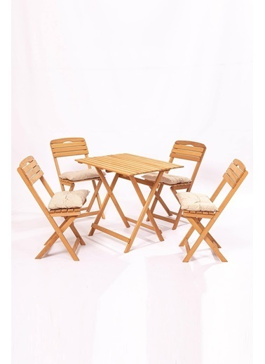 Meya Dekor Minder Hediye Balkon - Bahçe 5'li Katlanabilir Bistro Set 4 Sandalye 1 Bhçe 60x80 Cm Masa Renkli